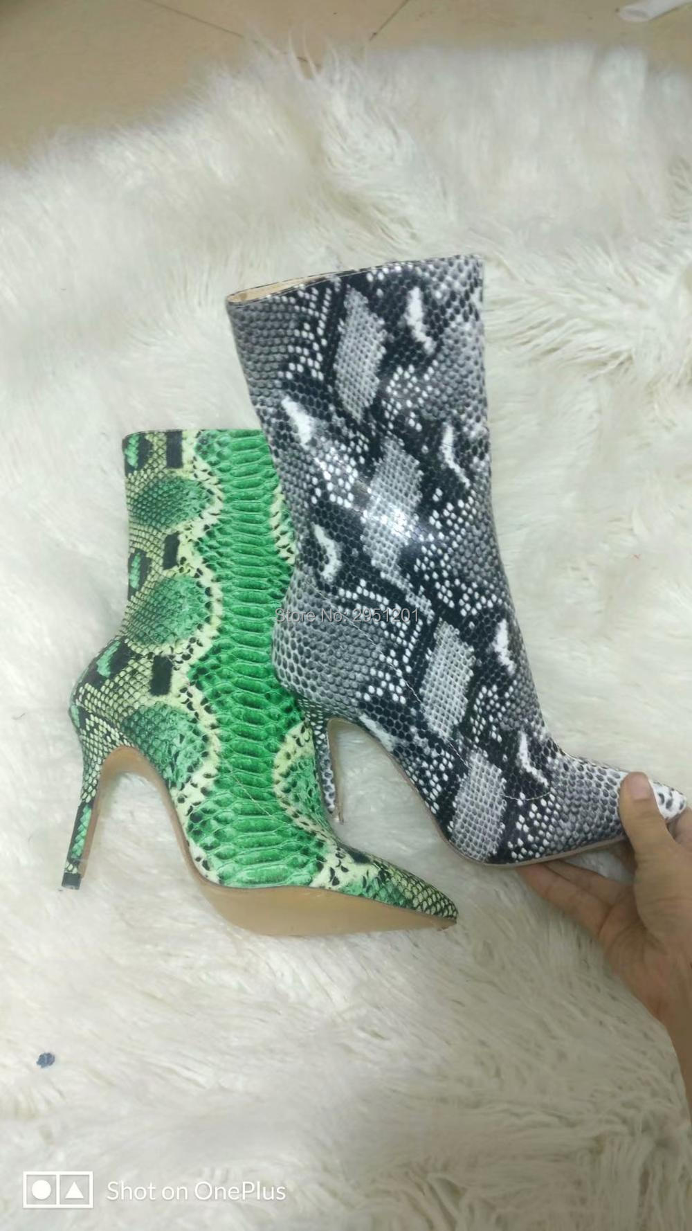 Brand Botas Mujer Short Bootie Green Snake Pattern 10CM High Heels Pointed Toe Women Ankle Booties marulong s0002 women s fashionable flower pattern short sleeved nightdress green multi color
