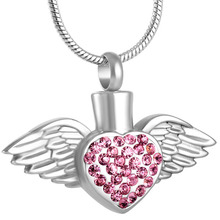 Silver Angel Heart Urn Pendant