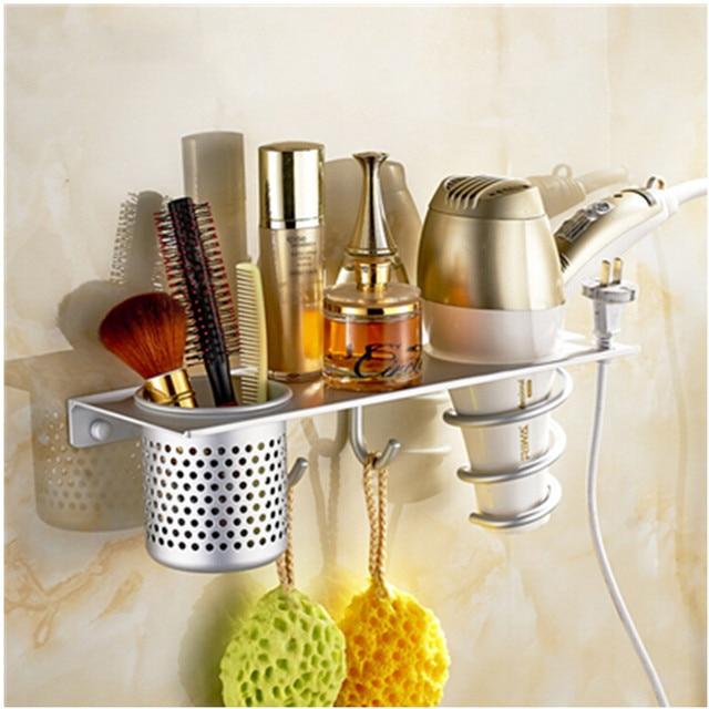 High Quality Fashion Wall Mounted Aluminum Bathroom Shelf Accessories Set Hair Dryer Holder Banheiro Acessorios Para Banheiro