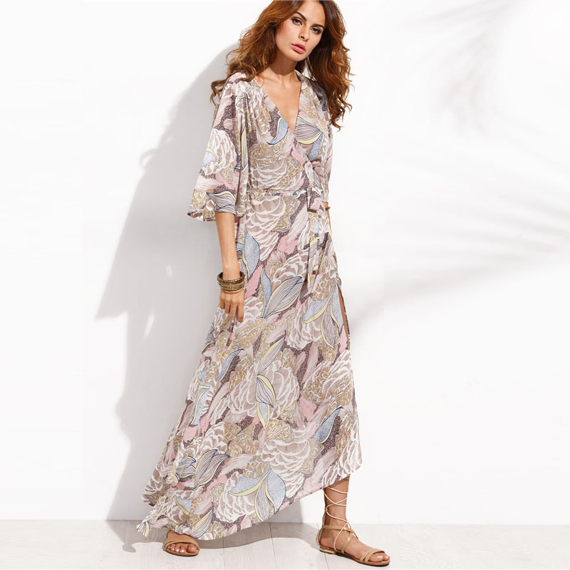 COLROVIE Floral Print Maxi Chiffon Dress Women V Neck Half Sleeve Wrap A Line Beach Sexy Dress 2018 Summer Beach Boho Long Dress 9