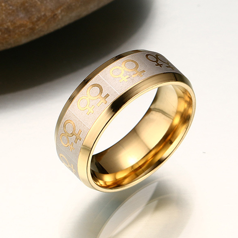 Stainless Steel Ring LGBT Lesbian Rings Twins Girl Friend Pattern Jewelry  For Men Women Gold Tone Women's Engagement Gift-in Engagement Rings from  Jewelry ...
