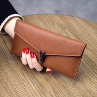2019 new women's long wallet simple top layer leather wallet leather ultra thin personality envelope wallet line card package