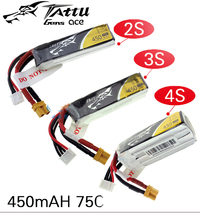 TATTU LiPo Battery 450mAh 75C 2S 7.4V 3S 11.1V 4S 14.8V with XT30 Plug Battey for RC FPV Racing Drone Quadcopter Toys