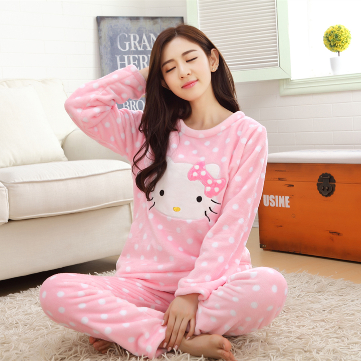 3ff17f4269 Detail Feedback Questions about 2 piece 2019 spring winter women girls  lovely pink hello kitty Flannel pajamas suit Female Cartoon home warm sets  fleece ...