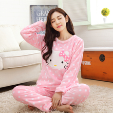 054b12a39 2 piece 2019 spring winter women girls lovely pink hello kitty Flannel  pajamas suit Female Cartoon