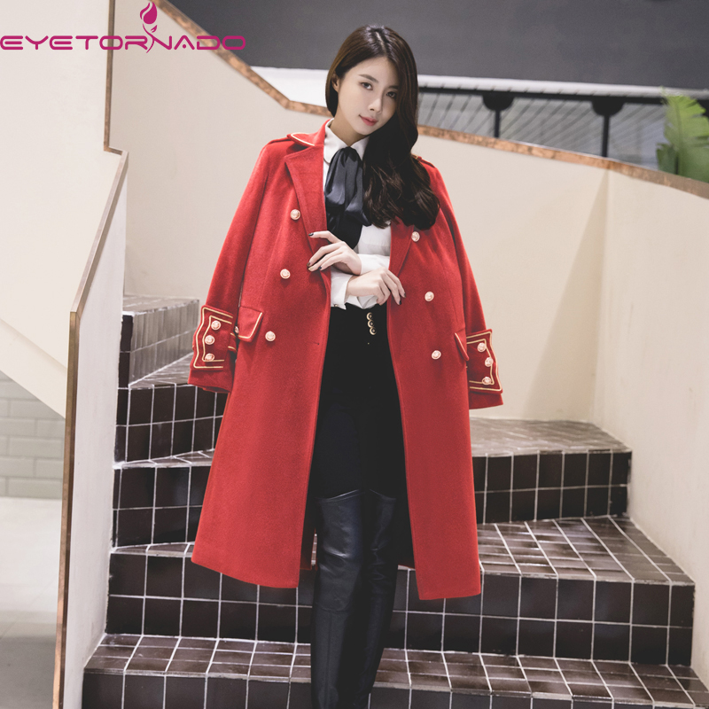 2019 Fashion Trench Coat Women Long Sleeves Red Overcoat Winter Keep Warm Loose Elegant Temperament Women
