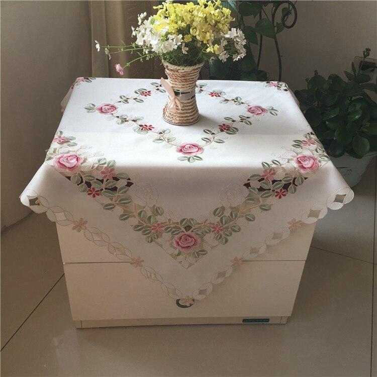 Luxe blanc rectangulaire satin Table tissu manteau Brodé ...
