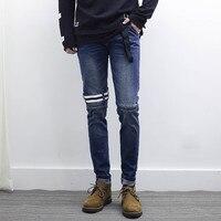VERSMA Korean Ulzzang Harajuku SUGA Slim Fit Denim Jeans Pants High Street GD Ribbon Design Men Biker Jean Trousers Pencil Pants