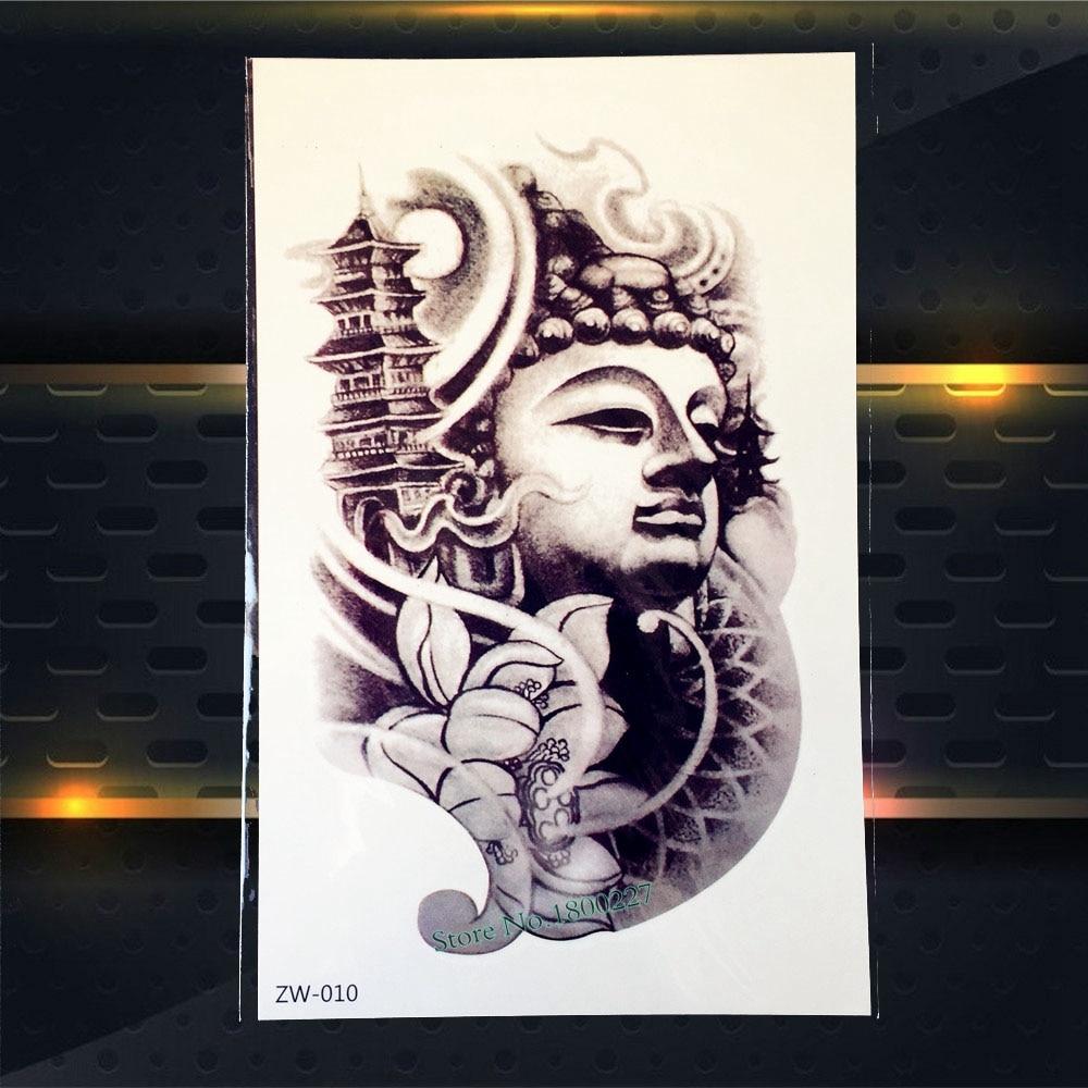 Men Women Body Chest Art Fake Tattoo Buhhda Tower Lotus Design Waterproof Arm Decal Temporary Tattoo Sleeve Stickers Buda PZW010
