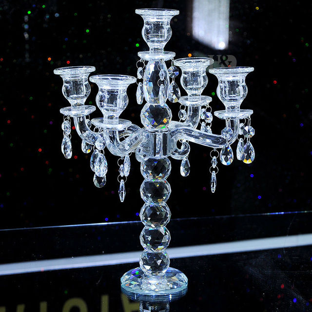 2016 k9 crystal 5 arm crystal candle holders centerpieces w prisms