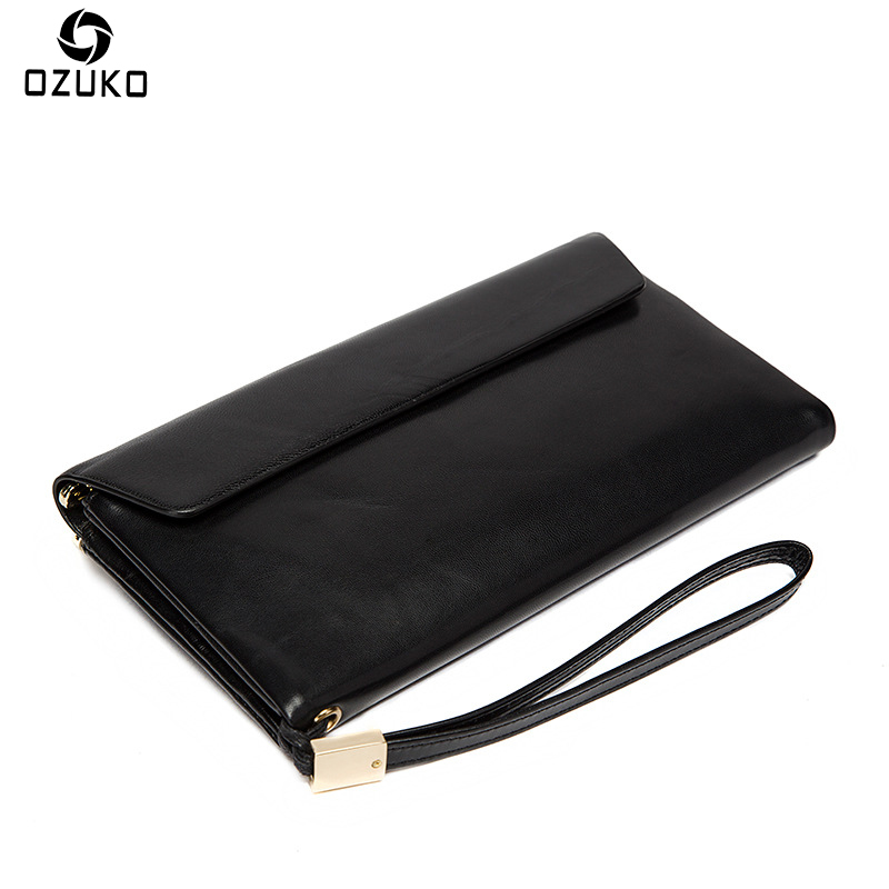 OZUKO Brand Men Wallets New Fashion Genuine Leather Purse Unisex Sheepskin Long Vintage Clutch Bag Card Holder Male Coin Purse
