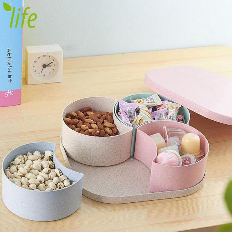 Ympäristöystävällinen vehnä-olki karkkiapunainen pähkinäpähkinät suurikapasiteetti moderni laatikko säilytyslaatikko hedelmälevyllä 1 kpl Ilmainen toimitus