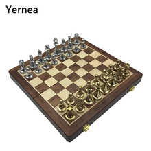 лучшая цена Yernea Entertainment Wooden Folding Chessboard Retro Metal Alloy Chess Set Pieces Chess Game High Quality Chessboard Gift