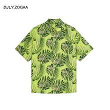 ZOGAA 2019 Floral Print Men T Shirt Beachwear New Fashion Male Causal Tee 5 Colors