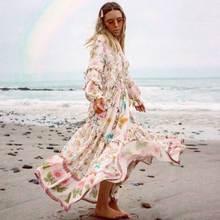 BOHO INSPIRED wild floral 2019 summer autumn dress for women ruffle trim V-neck elastic boho dress long sleeve dress female v neck ruffle trim floral dress