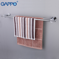 GAPPO Wall Mounted Towel Bar Brass Towel Rack Bathroom Towel Holders Double Rails Bath Storage Shelf
