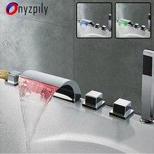 Torneira de banheiro onyzpily, torneira de cachoeira com led, misturador de 5 peças, orb, banheiro cromado, torneira de chuveiro, abs, chuveiro