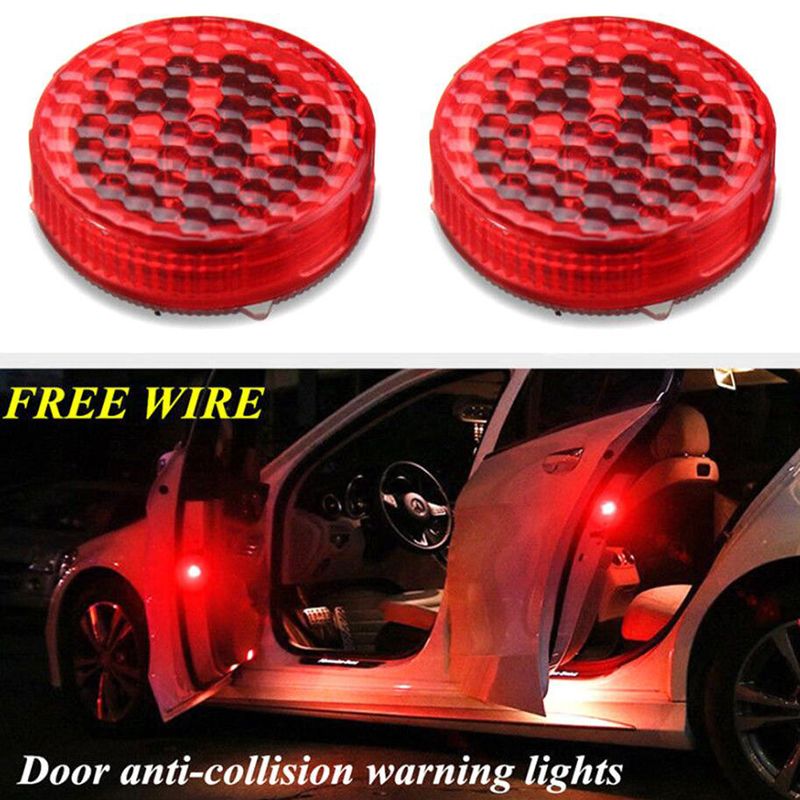4pcs Car Door Lights LED Warning Anti Collision Magnetic Flashing Lamp Auto Strobe Traffic Light Safety Signal Stickers On Cars