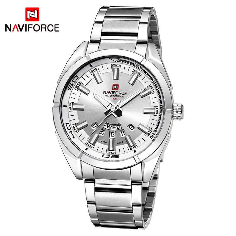 NAVIFORCE 2019, camiseta nueva de marca, relojes para hombre, reloj de pulsera para hombre de acero completo, resistente al agua, informal, reloj de cuarzo con fecha, reloj masculino