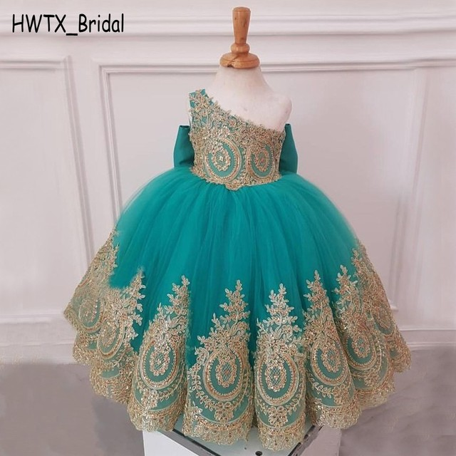55974f63296 Gold Lace African Flower Girl Dresses 2018 One Shoulder Knot Bow Tulle Kids  Pageant Ball Gown Birthday First Communion Cheap