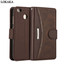 LOKAKA For Xiaomi Redmi 4X 5 Plus Case PU Leather TPU Flip Cases For Xiaomi Redmi