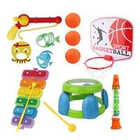 5 in 1 Baby Bath Toy Water Spraying Tool Playing Water Bathing Fishing Piano Drum Basketball Bathroom Toys Water Flow Waterfall