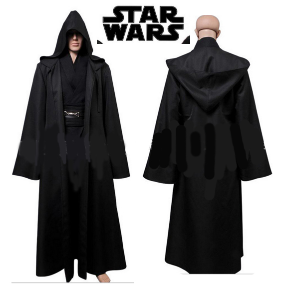 New Star Wars Jedi Costume Adult Black Jedi Robe Hoodie Cloak Men Halloween Cosplay Star Wars Darth Vader Costume