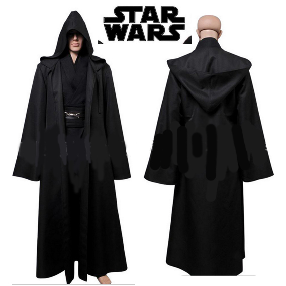Nuevo 2016 de Star Wars Jedi Túnica Jedi Con Capucha Capa de Los Hombres de Halloween Cosplay Traje Adulto Negro Star Wars Darth Vader Traje