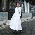 2016 Moda Outono e Inverno Cor Sólida Mulher Branca Outwear Plus Size Outwear Manga Longa Elegante Casual Feminino Casaco de Trincheira