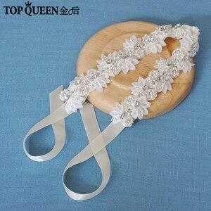 Image 2 - TOPQUEEN H232 Bruiloft headwears voor vrouwen trouwjurk met parels kant bloemen met kristal Haar decoraties voor vriendin
