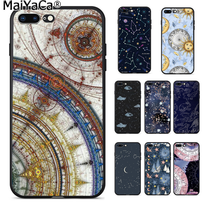 Maiyaca Outer Space Planet Spaceship Constellation Stars Moon Case For Iphone 8 8plus 7 7plus 6 6plus 5 5s Xr Se Mobile Cover To Have A Unique National Style Half-wrapped Case Cellphones & Telecommunications