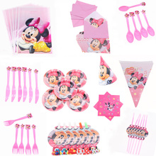 6pcs/lot Cartoon Minnie Cup Popcorn box napkins Set Happy Birthday Wedding Party Christmas Decoration For Home Kids