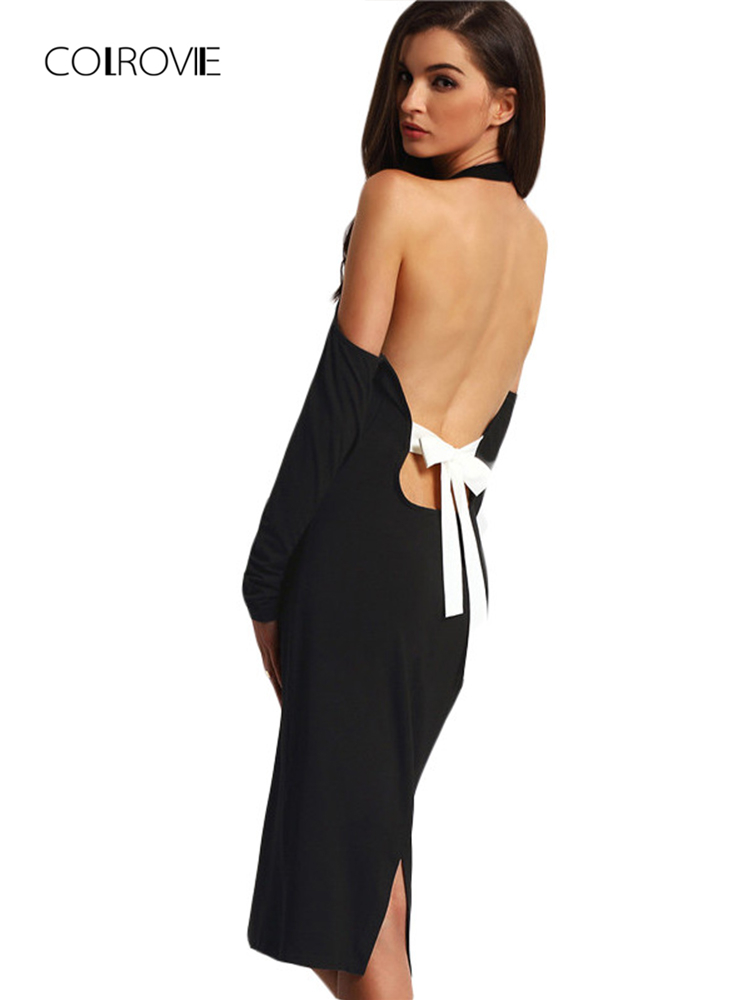 COLROVIE Sexy Women Backless Bodycon Pencil Dress Hollow Out Women New Arrival Black Open Shoulder Long Sleeve Bow Halter Dress