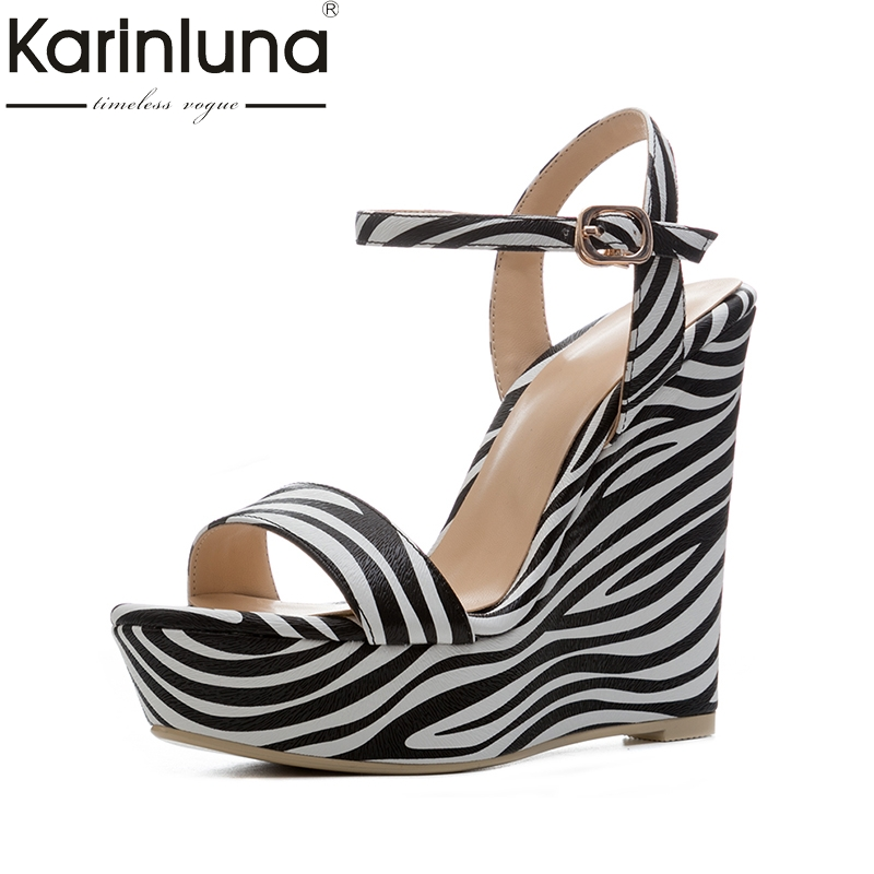 KarinLuna new size 34-41 zebra print sexy platfrom party shoes woman brand wedges high-heeled ankle strap summer sandals shoes new arrival black brown leather summer ankle strappy women sandals t strap high thin heels sexy party platfrom shoes woman
