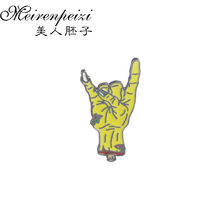 Trendy Roll Gestures Brooches Pins Hand Yellow Enamel Pin Badge Button Heavy Metal Music Brooch for Rock&Roll Lovers(China)