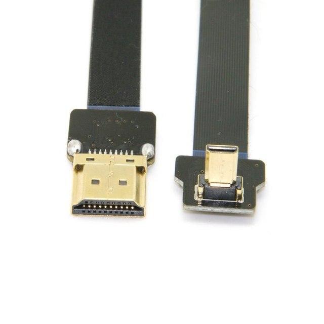 90 Градусов Вверх Под Углом FPV Micro HDMI Мужчина к HDMI Мужской FPC Плоский Кабель 20 см для GOPRO Аэрофотосъемки Multicopter 10 СМ 20 СМ 50 СМ