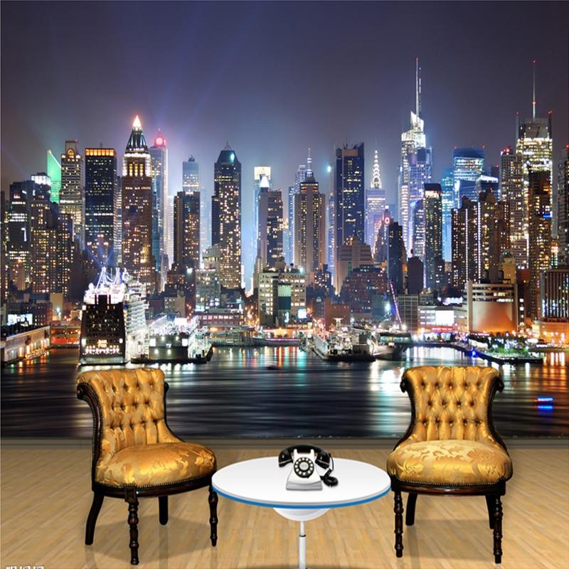 цены на Custom Photo Mural Wallpaper 3D New York City Night Scenery Mural Living Room Sofa TV Background Seamless Wallpaper Non-woven в интернет-магазинах