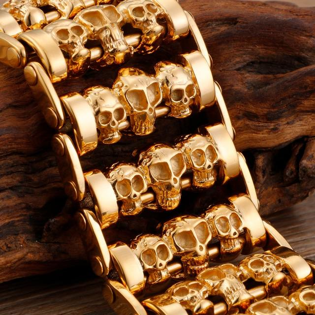 316 SIYAASADA STEEL MULTIPLE HEAD Skull BRACELET