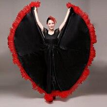 Танцевальная юбка для фламенко, золотой испанский танцевальный костюм для выступлений, женское платье для фламенко, 360-720 градусов размера плюс