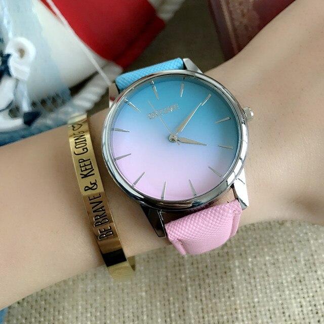 New Gradient Color Embossed Leather Belt Rainbow Sugar Color Simple Women  Quartz Watch c0bb4dec27