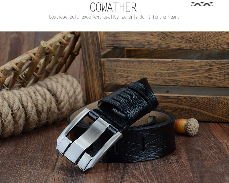 COWATHER 2017 QUALITY cow genuine luxury leather men belts for men strap male pin buckle BIG SIZE 100-130cm 3.8 width QSK001 16