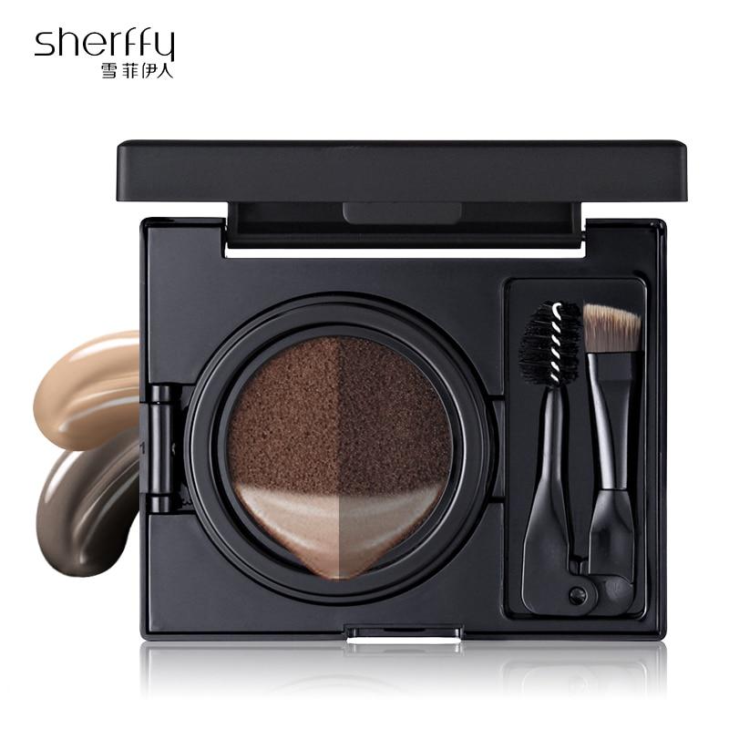 Sherffy Eyebrow Shadow Pro Palette Ritningborste 2 Färg Pomade Eye Brow Design Miracle Kudde Perfekt sommar ögonbryn Line Art