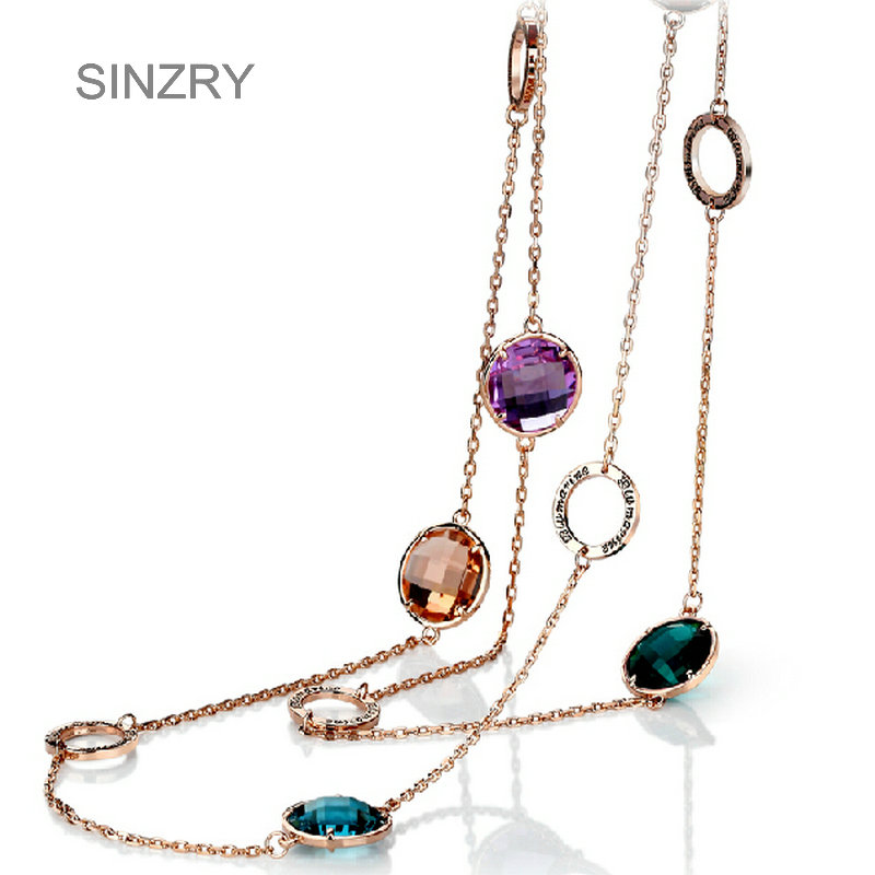 SINZRY new Luxury Jewelry Rose gold color Austria crystal long sweater necklaces