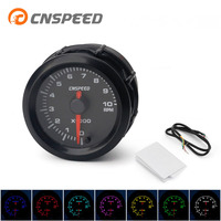 Free Shipping CNSPEED 2 52mm 7 Colors LED Auto Tachometer Gauge 0 10000Rpm with High Speed Stepper Motor RPM meter Car Meter