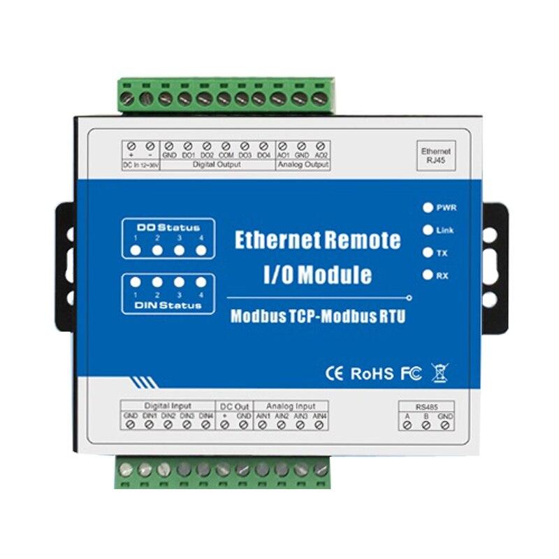 Contador De Pulsos de alta velocidade Remoto IOT Ethernet Modbus TCP IO Módulo (4DI + 4DO + RJ45 + RS485) M110T