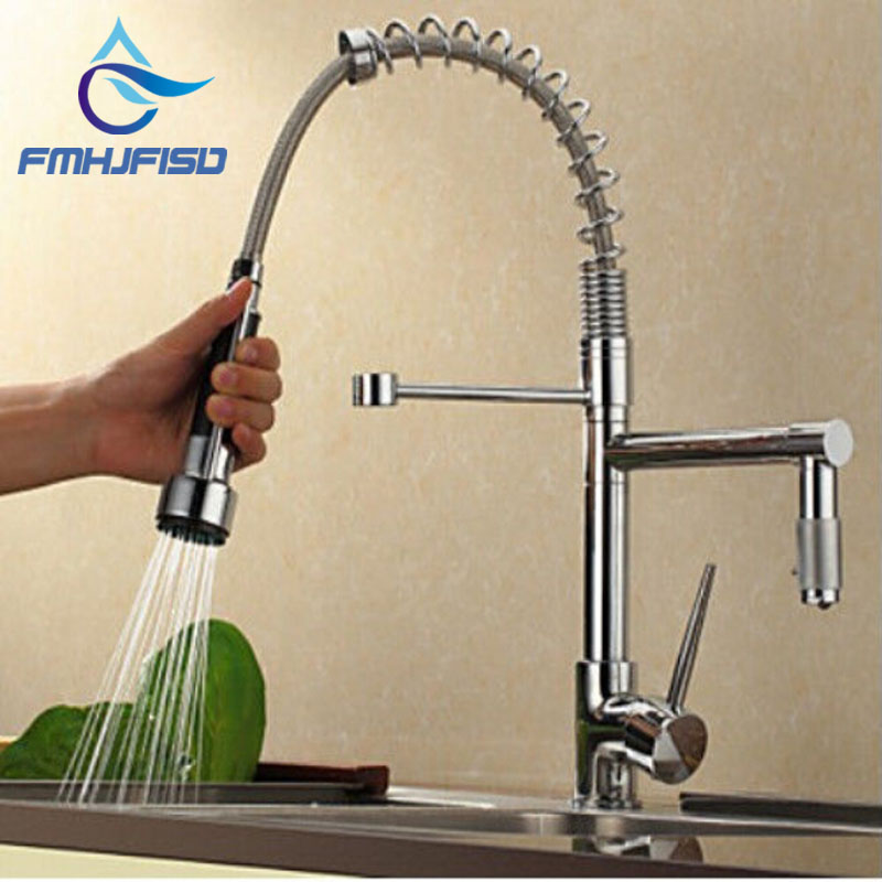 Wholesale And Retail Promotion Luxury Chrome Brass Kitchen Faucet Srping Style Vessel Mixer Tap Dual Sprayers Swivel Spout led spout swivel spout kitchen faucet vessel sink mixer tap chrome finish solid brass free shipping hot sale