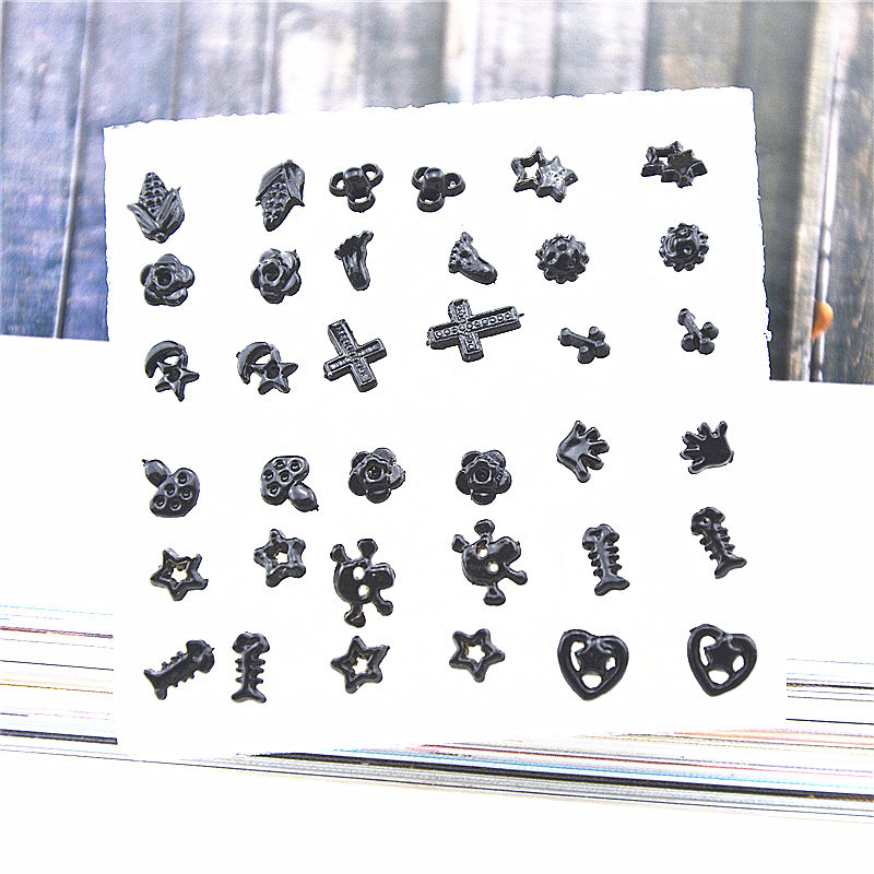Ufavoirte 18 Pair/Set Classic Bead Claires Stud Earrings Set For Girls Gift Fashion Accessories black Silver color