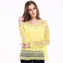Blouse long sleeve lace shirt code loose hollow out flower lace top female hollow stitching