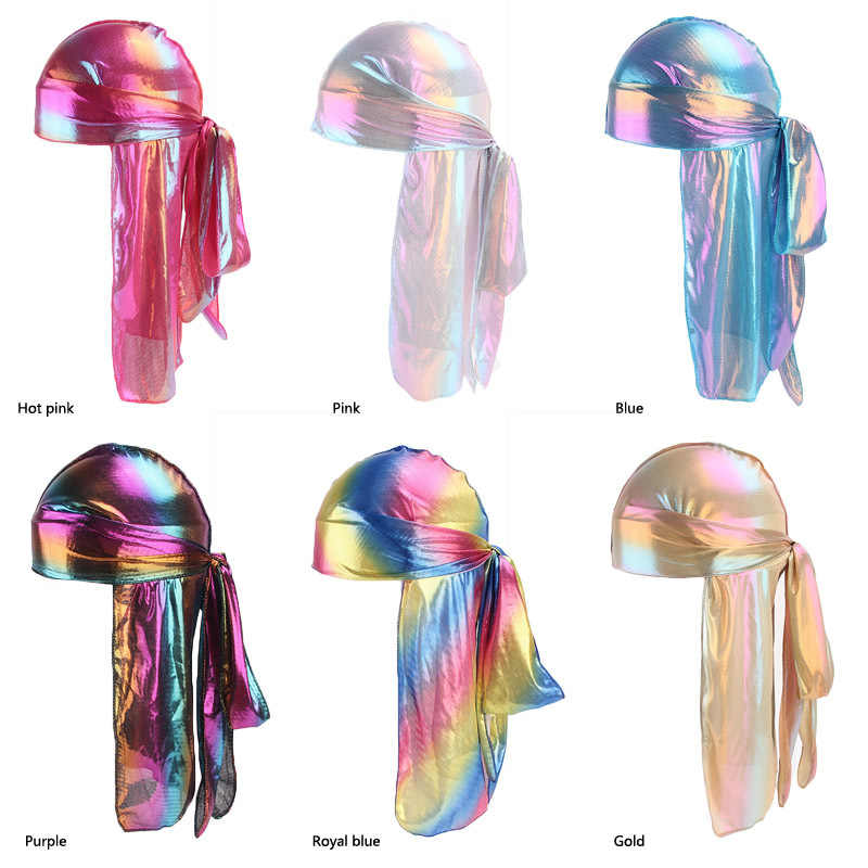 Fashion Men Sparkly Silk Bandana Pirate Headwear Colorful Wide Bonnet Turban  Durag Polyester Cap Comfortable Sleeping Hat