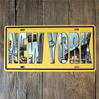 15*30 CM European City Newyork Paris London License Plates Retro Metal Signs Vintage Beer Posters Metal Plates